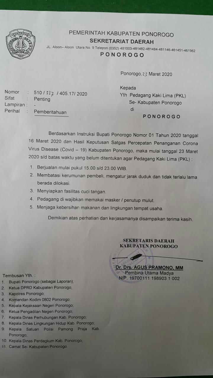 Photo of PKL Ponorogo Diminta Ikut Bantu Cegah Penyebaran Covid 19